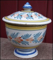 Faience Flowered Lidded Bowl HR Quimper 1900