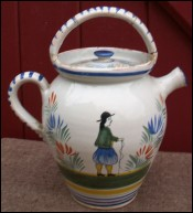Small Jug Chevrette Flowered Henriot Quimper 1920