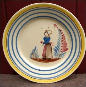 Little Bretonne Decorative Plate HB Quimper 1930