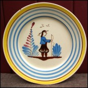 Little Breton Decorative Plate HB Quimper 1930