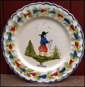 Little Breton Scalloped Decorative Plate HB Quimper 1920