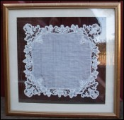 Bridal Wedding Handkerchief Bobbin Lace 1860