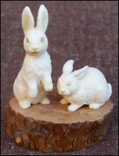 Rabbits Carved Figure Ivory German School