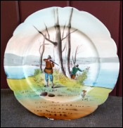Rabbit Hunting Plate Limoges Porcelain 1910