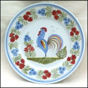 Rooster Large Decorative Plate Dish HB Quimper