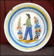 Little Breton Decorative Plate Henriot HR Quimper 1870