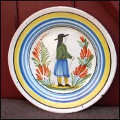 Little Breton Decorative Plate Henriot Quimper 1880
