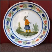 Little Breton Decorative Plate HB Quimper 1890
