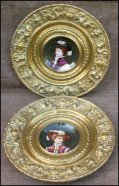 Pair German Porcelain Portrait Cabinet Plate 1890