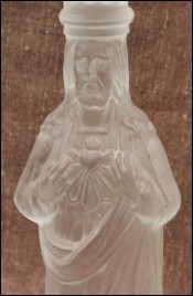 Jesus Sacred Heart Candlestick French Glass Portieux