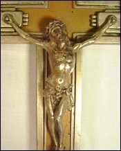 Crucifix Lourdes Pectoral Cross Silvered Spelter