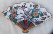 Fan Shaped Decorative China Porcelain Bird Flowers Gilt