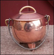 Copper Caldron Lid Stewpot Doll Fireplace Miniature 1950