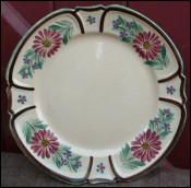Dahlia Plate HB Quimper Red Cross French Faience