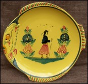 HB Quimper Little Breton Yellow Fish Shaped Plate 1950