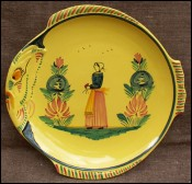 HB Quimper Little Bretonne Yellow Fish Shaped Plate