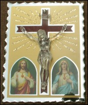 Crucifix Crystal Glass Christ Mary Joseph St Just Gobain