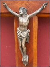 French Large Spelter Christ Walnut Crucifix 1910