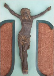 Spelter Christ Blue Painted Wooden Crucifix 1925