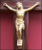 Rosewood Crucifix Gilt Spelter Bronze Christ 1920