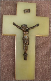 French Spelter Bronze Crucifix Onyx Cross 1900