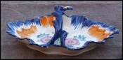 French Majolica Scalloped Basket HB Quimper 1960