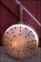 French Cut Copper Daisy Engraved Bed Warmer 1920