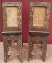 Pair Sirian Frame Stands Holders Inlayed  Walnut 1920