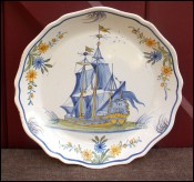 Faience Hadancourt Sailing Boat Hand Painted Plate