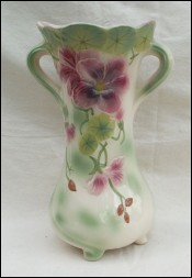 French Large Pansy Majolica Vase St Clement France