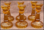 Amber Pressed Glass 6 Miniature Candlestick Portieux