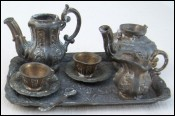 Victorian Tea Coffe Set with Tray for Doll Pewter