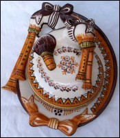 Bagpipe Butter Dish Henriot Quimper 1940