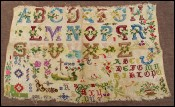 French Floral Alphabet Needlework Sampler 1900