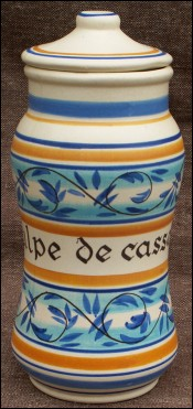 Lidded Apothicary Jar Cassia Pulp Faience Henriot Quimper 60's