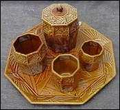 Art Deco Tobacco Set Onnaing French Majolica 1930