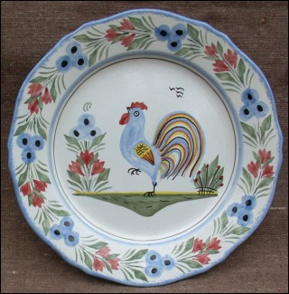 & Rooster Decorative Plate HB Quimper