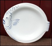 Blue White Fish Plate French Faience Pornic no Quimper
