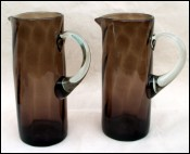 Pair Jug Pitcher Amber Twisted Handblown Glass Blenko
