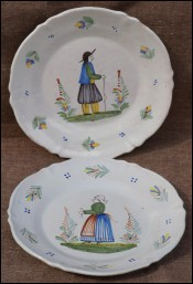 Pair Scalloped Plates Couple Breton HR Quimper