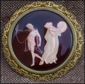 Hercules & Iole Greek Mythology Art Deco Enamel  Brooch E Bouillot