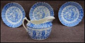 Creamer & 3 Saucers Aesthetic Transferware Blair & Co. Staffordshire 1884