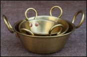 Miniature 3 Brass Basin Jam Preserving Pans Doll House Kitchen