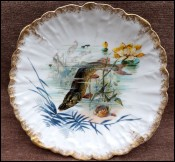 Pike French Limoges Hand Painted Scalloped Plate Gilt