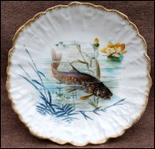 Rainbow Trout Limoges Hand Painted Scalloped Plate Gilt