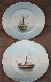Sailing Boats Paris Porcelain Pair Plates Le Havre Normandy