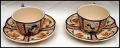 Pair Chocolate Breakfast Cup & Saucers Little Breton Jos Kervella