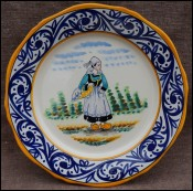 HB Quimper France Little Breton Decor Riche Decorative Plate