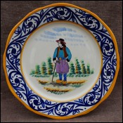 HB Quimper France Little Breton Decor Riche Decorative Plate A