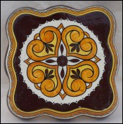 Large Scalloped Trivet Tile Henriot Quimper 1950